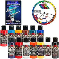 12 Createx Wicked Colors 2oz Airbrush Paint Set with Reducer & Color Wheel