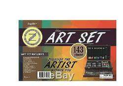 143 Piece Drawing Art Creativity Set Charcoal Sketching In Wooden Case ZagGit