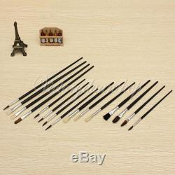 15Pcs Artist Paint Brushes Set Assorted Size Painting Oil Acrylic Watercolor Kit