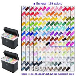 168 Color SET TOUCHNew 6 Alcohol Graphic Art Twin Tip Pen Marker Animation