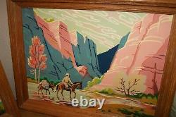 1950's Vintage Paint By Number Cowboy Monument Canyon Trail Desert RARE Set of 3