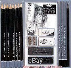 21 pc ARTIST SKETCHING SET with DRAWING PENCILS, CHARCOAL STICKS, ERASERS & MORE