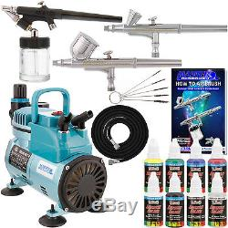 3 Airbrush Kit 6 Primary Color Cool Running Air Compressor Dual-Action Hobby Set