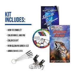 3 Master Airbrush 1/4hp Twin-Piston Compressor Kit, 6 Color Acrylic Paint Set