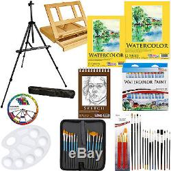 69pc Deluxe Watercolor Paint Set with Table & Field Easel Paint Pads Brushes