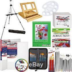 72-Piece Acrylic Painting Set Table Easel, Aluminum Easel, Brushes, Paint