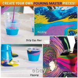 84-Color Ready to Pour Acrylic Pouring Paint Set Silicone Oil & Gloss Medium