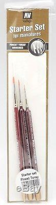 Acrylicos Vallejo Basic Color Model Air Brush Paint Set Case 3 Brushes 72 Colors