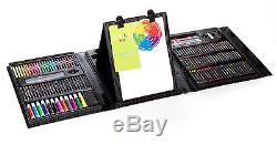 Art 101 Kids 179 Piece Double Trifold Easel Set Sided Young Portable Case Artist
