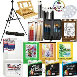 Art Painting Kit 133pc Artist Paint Set with Easel, Canvas, Paint & Brushes