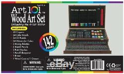 Art Set 101 142-Piece Wood Art Set Drawing Kits Crayons Painting Pencils NEW