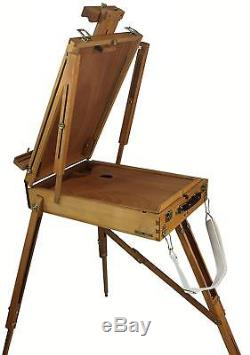 Art Set with HARDWOOD French Easel, Paints, Stretched Canvases, Brushes, More