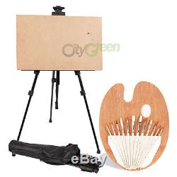 Art Tools Iron Folding Easel with Carry Bag +Artist Brush Set with Palette