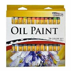 Artist Painting Set Complete Tubes Easel Brushes Oil Wood Drawer Canvas