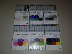 Bundle Lot 6 packs of new Copic Sketch Marker Sets No Repeats! FREE shipping