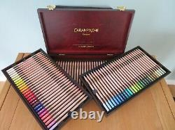 Caran Dache 84 Extra Fine Dry Pastel Pencils Wooden Box Gift Artist Sketch Set
