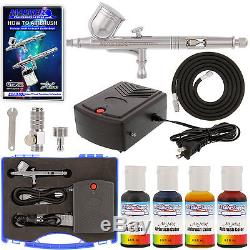 Complete CAKE DECORATING AIRBRUSH SYSTEM KIT w-Food Color Set, Air Compressor