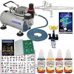 Complete TEMPORARY TATTOO AIRBRUSH AIR COMPRESSOR KIT Body Art Paint Set Stencil