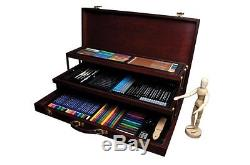 Deluxe Art Set 134 Piece Drawing Sketch Kit Wood Case Portable Artist Box
