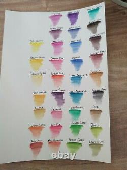Derwent Inktense Pencils 36 Tin Set + 33 Nearly New only used for Swatches