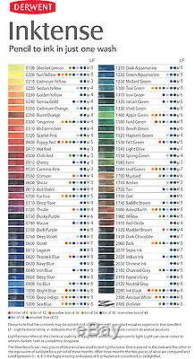 Derwent Inktense Professional Pencils 72 Tin Set Assorted Water-Soluble Colours
