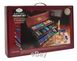 Drawing Kit Box Sketching Wooden Case Deluxe Pencil Art Set Easel Draw Artist