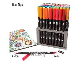 Dual Brush Pen Art Markers 96 Color Set Desk Stand Tombow New Free Shipping