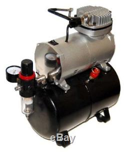Gravity Master Airbrush Air Compressor with Tank Kit, 3 Tip Sets 0.2, 0.3, 0.5mm