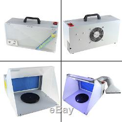 Hobby Airbrush Spray Booth Exhaust Filter Extractor Set with LED Light for Model