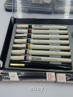 Koh-I-Noor Rapidograph Slim Pack Set of 8 Technical Pens with Case Plus 5 Others
