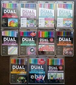 Lot of (11) TomBow Dual Brush Pens Art Markers 8/10pc sets new never been used