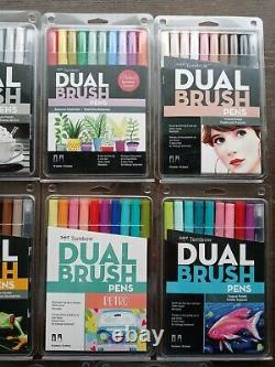 Lot of (8) TomBow Dual Brush Pens Art Markers 8/10pc sets new never been used