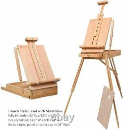 MEEDEN 76 Pcs Deluxe Artist Painting Kit with French Style Easel, 48-Color Set
