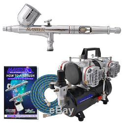 Master G23 Dual-Action Gravity AIRBRUSH KIT SET 4 Cylinder Piston Air Compressor