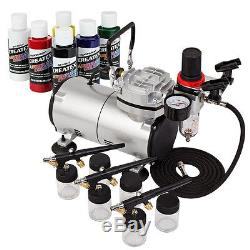 NEW 6 Primary Color 3 Airbrush Kit Air Compressor Single Action Siphon Hobby Set