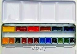 NEW DA VINCI ARTIST WATERCOLORS 18 pans 6 Full and 12 1/2 size in Metal Palette