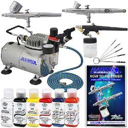 New 3 Airbrush Kit 6 Primary Colors Air Compressor Dual-Action Testors Hobby Set
