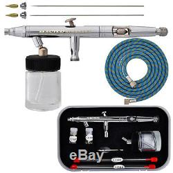New MASTER PRO Dual-Action Siphon Feed AIRBRUSH KIT SET w-3 TIPS Hobby Cake Art