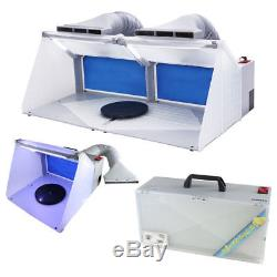 OPHIR 2 Sets of Airbrush Spray Booth Kit w LED Lighting Filter f Hobby Model