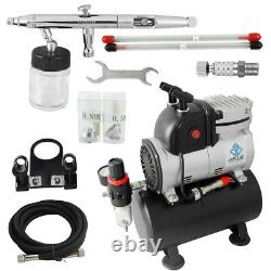OPHIR Pro 110V Air Compressor and Airbrush Kit Set for Hobby Model Tattoo