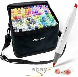 Ohuhu 120 Pieces Colorful Art Markers Twin Tip Brush and Chisel Set for Kids