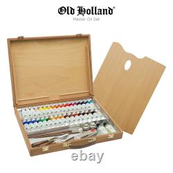 Old Holland Master's Oil Paint Color Set with Box Palette Knives Brushes Mediums