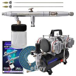 PRO SET 3 Tips. 3.5.8 Siphon Dual-Action Airbrush Kit 4 Piston Air Compressor