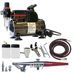 Paasche 1/5 HP Airbrush Compressor withH Single Action Airbrush Set withThree Heads