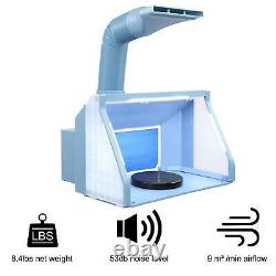 Portable Hobby Airbrush Paint Spray Booth Dual Fan Exhaust Filter LED Light Set