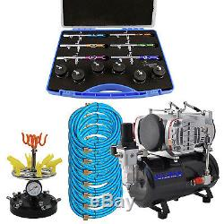 Pro 6 AIRBRUSH SET KIT with Twin Piston Air Compressor Holder Hobby T Shirt Tattoo