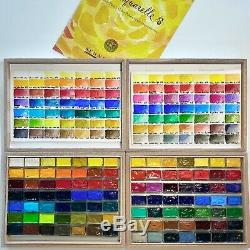 Sennelier Watercolor Set. 98 Full Pan Lot in Wood Boxes Complete Color Range