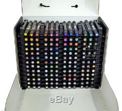 Set- 156 Prismacolor double-ended Chisel & Fine tip art markers on trays in box