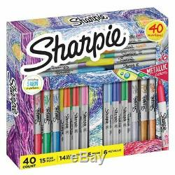 Sharpie Assorted Metallic Mixed Holiday Set 40 Count, Vibrant Colors