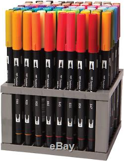 Tombow 56149 Dual Brush Pen Art Markers, 96 Color Set with Desk Stand. Blendable